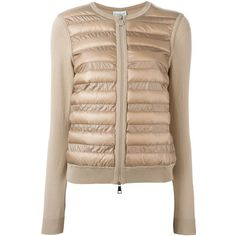 Moncler padded front cardigan featuring polyvore, women's fashion, clothing, tops, cardigans, feather top, beige cardigan, moncler, moncler cardigan and zip front cardigan