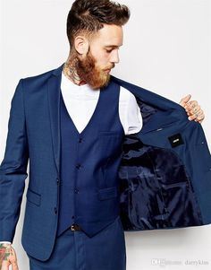 Suit Custom Made Groom Tuxedos Blue Business Suits Classic Sequin White Blazer Men Fashion Mens Tux Bridegroom Jacket Pant Tie Ms002 Wedding Suits For Groom Business Suits From Darrykiss, $85.43| Dhgate.Com