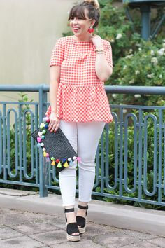 Red gingham peplum top and jeans