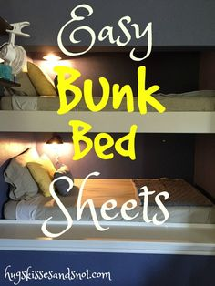 how to make easy bunk bed sheets that will always stay tucked in and making the - Wohnwagen Bunk Beds For Girls Room, Bunk Rooms, Kids Bunk Beds, Loft Beds, Bedrooms, Bunk Beds Built In, Cool Bunk Beds, Bunk Beds With Stairs, Caravan Bunks