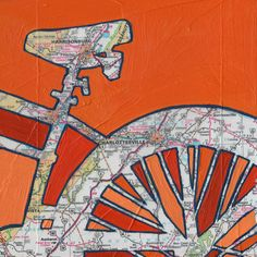 BIke Charlottesville print - featuring Charlottesville, Harrisonburg, Virginia University of Virginia Bike art print. all rights reserved © Leslie DeRose 2010-2015 Title: Bike Charlottesville Dimensions: 7.25x7.25 image on 8.5x11 paper Medium: Archival print of my original acrylic map painting Bike Charlottesville is a print of my original mixed media painting. A map of the greater Charlottesville area is set behind a bold silhouette of a cropped bike image. Signature:Front is signed and...
