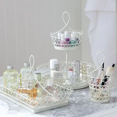 White Wire Beauty Storage | PBteen