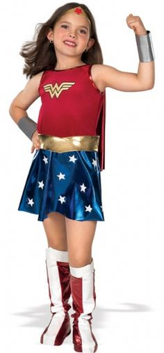 DC Comics Wonder Woman Girl's Halloween Costume - This is an officially licensed DC Comics Wonder Woman costume for girls. The costume consists of a dress with a red velvety upper half, which has the yellow Wonder Woman logo, and a bottom half that is a blue metallic knit with white stars. #wonderwoman #yyc #calgary #costume #children #superhero
