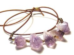 Amethyst Nugget  Leather Necklace Bohemian Jewelry on Etsy, $45.00