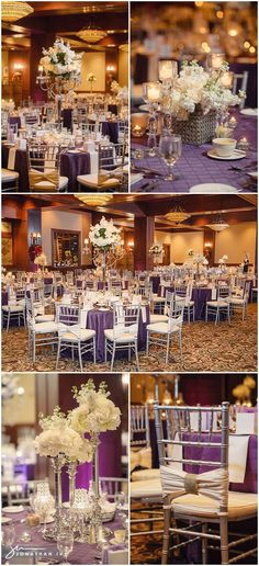 Purple wedding decor captured by Jonathan Ivy Photography