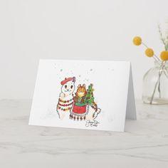 Burt and his llama friend Francine card - Xmas ChristmasEve Christmas Eve Christmas merry xmas family kids gifts holidays Santa Cyber Monday, Holiday Cards, Christmas Cards, Christmas Eve, Llama Christmas, How To Make Pillows, Merry Xmas, Kids Gifts, Custom Pillows