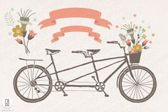Tandem bicycle flowers wedding card - Illustrations - 2