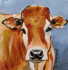 Hey, I found this really awesome Etsy listing at http://www.etsy.com/listing/97116485/ginger-cow-original-painting-on-canvas