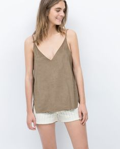 FAUX SUEDE TOP-Plain-Tops-WOMAN   ZARA United States