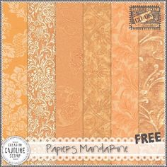 Freebies : Papers Pack (Set of 6 Pngs) Papiers Mandarine (Orange) from Cajoline-Scrap