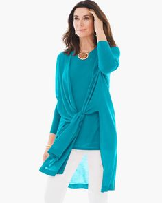Chico's Women's Convertible Cardigan, Tropical Teal, Size: 4 (20/22 XXL)