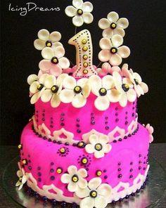 Baby girl's first birthday cake