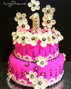For a little girl's first birthday cake... isn't this gorgeous??