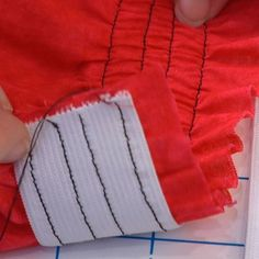 Maybe a smocked Waistband?Learn several ways to apply elastic in this excerpt from our beginner sewing video series. Sewing Tutorials, Sewing Hacks, Sewing Crafts, Sewing Patterns, Sewing Tips, Sewing Ideas, Elastic Thread, Sewing Elastic, Sewing Basics