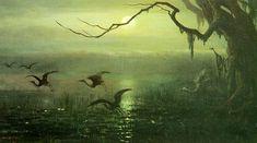 painting, bird, crane ?, stork ?, marsh, swamp, green, tree, moss.  William Holbrook Beard