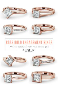 Let your unique personality shine through with a rose gold engagement ring. These princess cut engagement rings feature beautiful diamonds in rose gold settings. #AngelicDiamonds #RoseGold #Gold #Diamond #Diamonds #Ring #Rings #EngagementRing #EngagementRings #RoseGoldRing #DiamondRing #Wedding #Engaged #Engagement #Jewellery #Jewelry #princesscutdiamondring