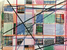 Wax fabric crayon rubbing, cut through and layered over fabric eon drawing, grid structures. Year 8