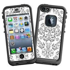 Dainty Black and White Damask #Skin  for the #lifeproof #iphone5 and #iphone5s #Case by #Skinzy.com