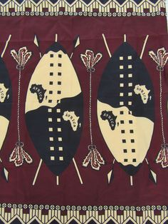 African clothing for women,Zulu warriors shields and Arrows,South African print fabric,African fabri Zulu Warrior, Textiles, African Fabric, African Women, Fabric Material, Clothing Patterns, Handicraft, Special Events, Printing On Fabric