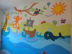 mural pintado animalitos