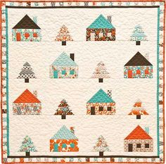 "Sugar Pine Cabins, 39"" square, quilt pattern by A Graceful Stitch"