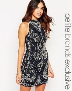 Maya Petite Embellished Halter Neck Shift Dress