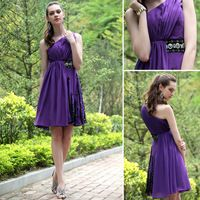 Elegant A-line One Shoulder Stretch Satin Cocktail Dresses With Beading Sash Pleats Bodice Color Purple Woman Cocktail 2014 New