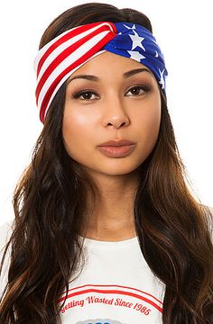 Gold Saturn Headband The Springsteen Festival Turband in Red, White, and Blue