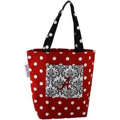 Alabama Crimson Tide Crimson Polka Dot Small Canvas Tote