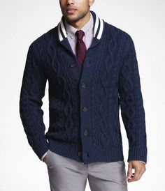 I don't know about this but I kind of like it.  Striped Shawl Collar Cardigan