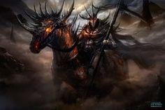 Fogo, sangue, guerreiros e demônios nas ilustrações das artes conceituais de Francisco Garcés