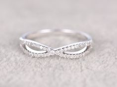 Natural Diamonds,Half Eternity Wedding Ring,14K White gold,Anniversary Ring,Loop curved design,stackable ring,Matching band,Engagement ring by popRing on Etsy