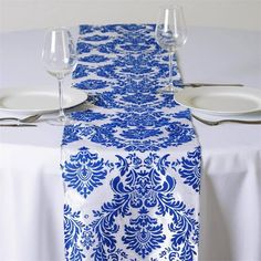 Royal Blue Flocking Table Runner | Our eye-catching taffeta flocking table runner is an ideal choice to dress up those lackluster table covers and old-fashioned tables. The seamless luster of high quality taffeta combined with the modish flocking design adds a chic appeal to these splendid runners. Create a super classy table presentation with these stylish runners spread elegantly atop your wedding or banquet tables. Pair these with our sparkling glitter accented table tops, centerpieces or…