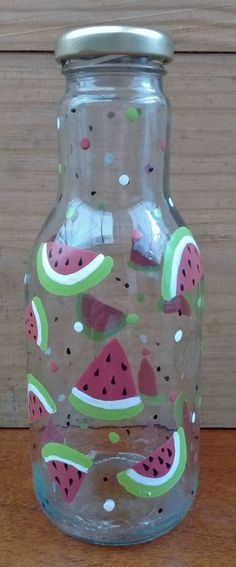 Wine Bottle Crafts, Bottle Art, Watermelon Crafts, Diy Crafts To Do, Decoupage Vintage, Painted Jars, Diy Home Decor, Diy Projects, Dresses Dresses
