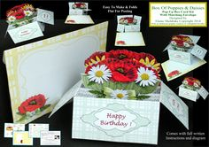 """Poppies & Daisies"" Pop-Up Box Card Kit with matching envelope. Easy to make and comes with full instructions and it folds flat for posting. £1.60 and only available from me at https://www.facebook.com/photo.php?fbid=10201731079153691&set=oa.1504878103089514&type=3&theater"