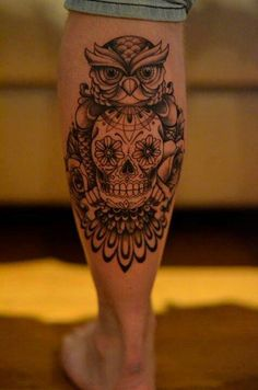 Awesome owl and skull tattoo