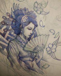 Geisha sketch for Thursday. #geisha #asianink #tattoo #irezumi #irezumicollective #asiantattoo #sketch #drawing #art #illustration #chronicink