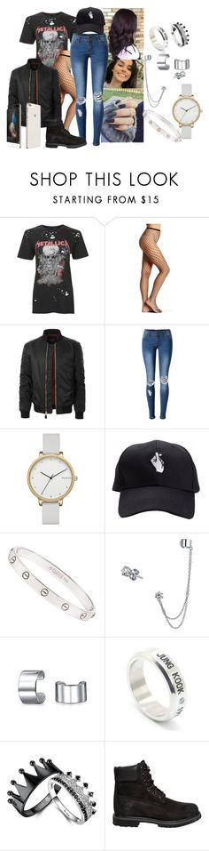 """""""Untitled #716"""" by elliepetkova ❤ liked on Polyvore featuring Topshop, Hue, LE3NO, WithChic, Skagen, Cartier, Bling Jewelry, LØMO, Timberland and Huawei"""