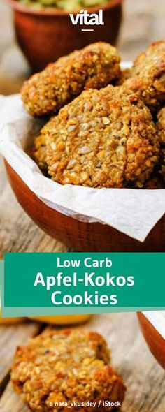 This combination is simply unbeatably delicious: apple and coconut. For the gluten-free cookies you also need hazelnuts, nutrient-rich chia seeds and fruity cranberries. The gluten-free apple-coconut cookies are quick to make and incredibly tasty! Low Carb Protein, High Protein Recipes, Low Carb Recipes, Low Carb Cookies, Law Carb, Coconut Cookies, Fudge Recipes, Paleo Dessert, Low Carb Desserts