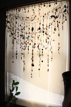 Gypsy Window Veil Diamond Eye Beaded Boho curtain w/Ethnic India Glass, Tribal metal beads,  Rare Copper Upcycle Scarf Suncatcher by TempleHouseArt on Etsy https://www.etsy.com/listing/257617163/gypsy-window-veil-diamond-eye-beaded