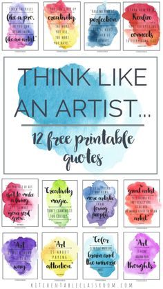 Artist Quotes -Art Quotes to Inspire Creativity Think like an artist with this set of twelve free printable famous artist quotes.Think like an artist with this set of twelve free printable famous artist quotes. Famous Artists For Kids, Famous Artists Paintings, Famous Artist Quotes, Quotes For Artists, Artist Quotes Funny, Canvas Art Quotes, Quotes On Art, Paint Quotes, Art Qoutes
