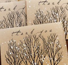 Tree Thank You cards hand stamped and painted