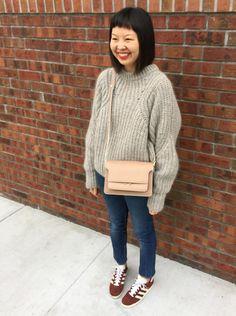 oversized chunky knit and adidas gazelles