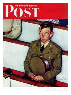 """Willie Gillis in Church"" Saturday Evening Post Cover, July 25,1942 Impression giclée par Norman Rockwell sur AllPosters.fr"