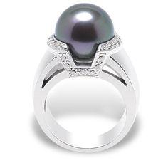 Bague perle noire et blanc
