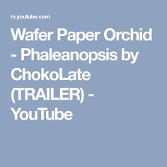 Wafer Paper Orchid - Phaleanopsis by ChokoLate (TRAILER) - YouTube