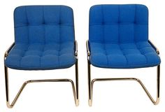 French Chrome Cantilever Chairs,  Pair on OneKingsLane.com
