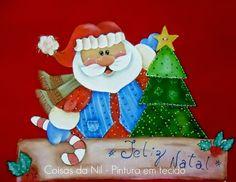 Coisas da Nil - Pintura em tecido: Papai Noel e a arvore de Natal.