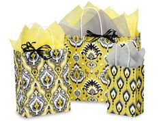 100% Recycled Ikat Sunrise Paper Shopping Bag Collection. Made in the USA.
