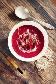 Creamy Beetroot Soup with Orange, Ginger and Coconut Milk